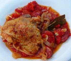 Chicken with chorizo