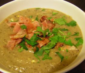 Bacon, egg and bean soup