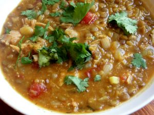 Spiced chicken and lentil soup