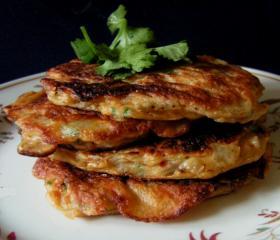 Spicy aubergine pancakes