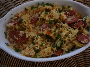 Artichoke and chorizo rice