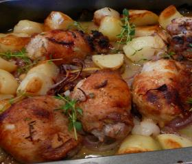 Lemon roast chicken thighs and potatoes