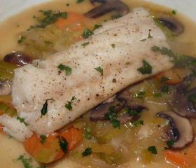 Cod with cider vegetables