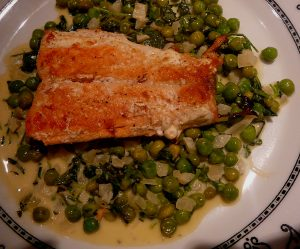 Pan fried salmon with shaken peas