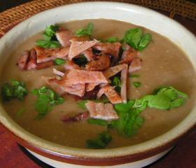Chestnut and smoked bacon soup