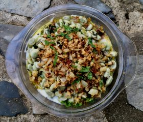 Broad bean and yogurt salad