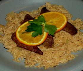 Liver and orange with cheese pilaf