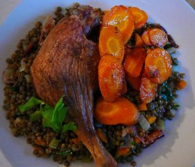 Slow roast duck legs with lentils