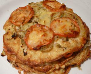 Savoury stacked pancakes