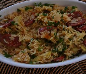 Artichoke and chorizo rice