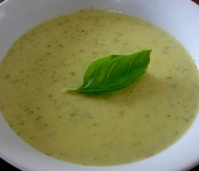 Courgette, leek and Parmesan soup
