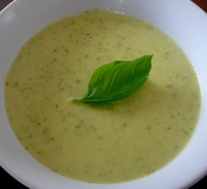 Courgette, leek and parmesan soup