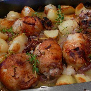 Lemon roast chicken thighs and potatoes