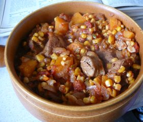 Pork, sweet potato and corn stew