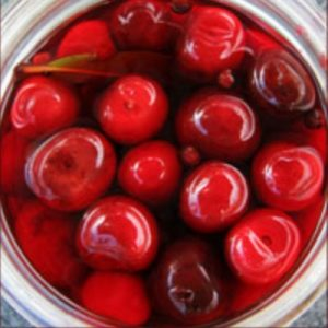 Sweet pickled cherries