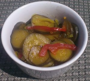 sweet pickled courgettes