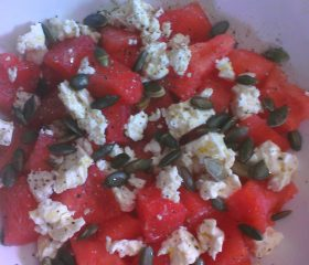 Watermelon, feta and pumpkin seed salad